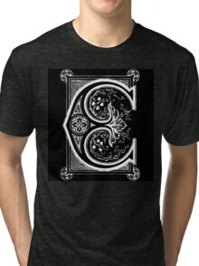 Old print ornament letter E Tri-blend T-Shirt