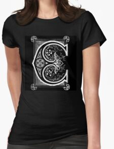 Old print ornament letter E Womens Fitted T-Shirt