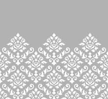 Damask Baroque Part Pattern White on Grey by NataliePaskell