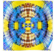blue yellow and brown circle plaid pattern  Poster