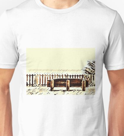 wooden bench and wooden fence  Unisex T-Shirt