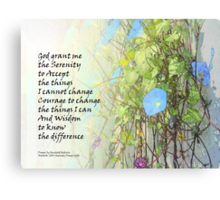 Serenity Prayer Morning Glories and Fence Canvas Print