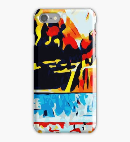 orange blue red yellow and black abstract iPhone Case/Skin