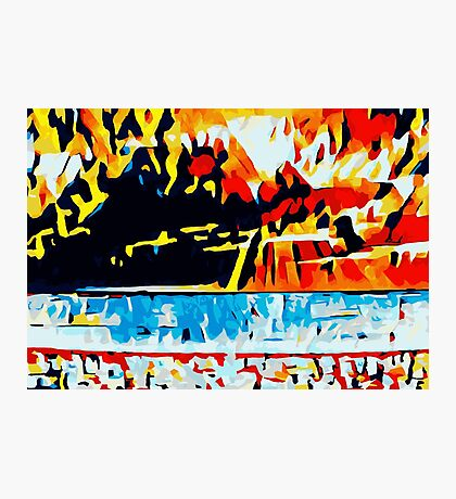 orange blue red yellow and black abstract Photographic Print
