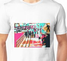 group of people walking with the wooden walkway Unisex T-Shirt