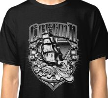 Nautical Captain Old Sailing Ship in Waves, Vintage Distressed Classic T-Shirt
