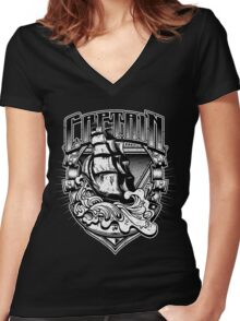 Nautical Captain Old Sailing Ship in Waves, Vintage Distressed Women's Fitted V-Neck T-Shirt