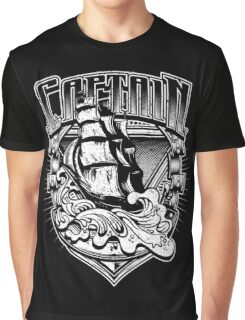 Nautical Captain Old Sailing Ship in Waves, Vintage Distressed Graphic T-Shirt