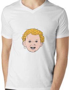 Blonde Caucasian Toddler Head Smiling Drawing Mens V-Neck T-Shirt