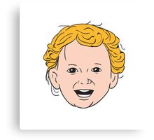 Blonde Caucasian Toddler Head Smiling Drawing Canvas Print