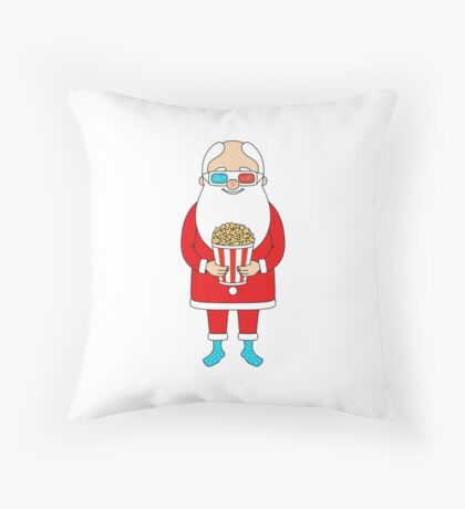 Santa Claus with popcorn and 3D glasses Throw Pillow