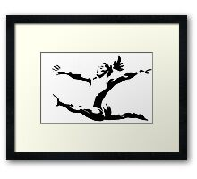 Simone Biles Olympics Soaring USA Black and White Framed Print