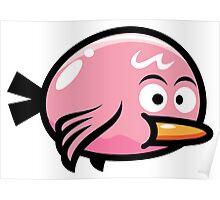 Cute Kawaii Pink Bird Poster