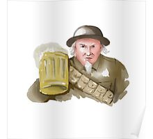 Uncle Sam WW1 Soldier Toasting Beer Watercolor Poster