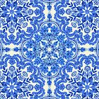 Cobalt Blue & China White Folk Art Pattern by micklyn