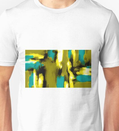 blue yellow black and white painting abstract  Unisex T-Shirt