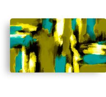blue yellow black and white painting abstract  Canvas Print