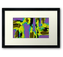 yellow green blue and black painting abstract Framed Print