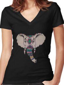 The Mandala Elephant  Women's Fitted V-Neck T-Shirt
