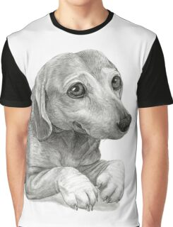 Graphite Pencil portrait drawing of Peanut the Dachshund Graphic T-Shirt