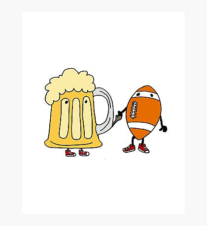 Cool Funny Funky Football and Beer Mug Cartoon Photographic Print