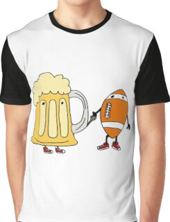 Cool Funny Funky Football and Beer Mug Cartoon Graphic T-Shirt