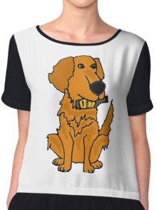 Cool Funny Golden Retriever Dog with Beer Bottle Chiffon Top