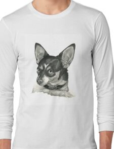 Graphite Pencil portrait drawing of a Chihuahua Long Sleeve T-Shirt