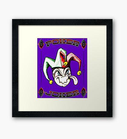 Poker Joker Jester Clown Fool Hand Drawn Framed Print