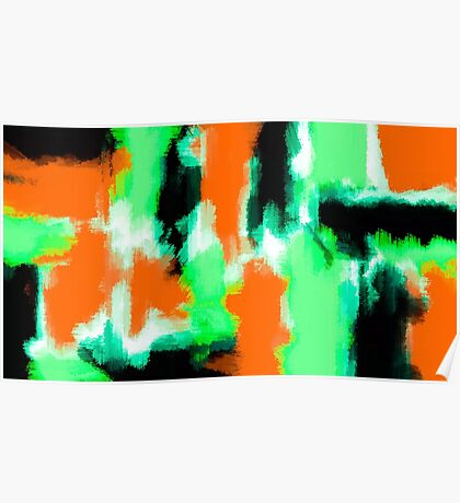 orange green and black painting abstract  Poster