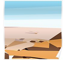 brown blue and dark brown abstract  Poster