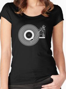 Record player vinyl Women's Fitted Scoop T-Shirt