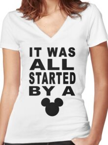"""""""All Started By A Mouse"""" Design Women's Fitted V-Neck T-Shirt"""