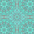 Mint Green & Grey Folk Art Pattern by micklyn