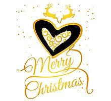 merry Christmas Herz gold glamour frauen geschenk rentiere sterne glitzer Photographic Print