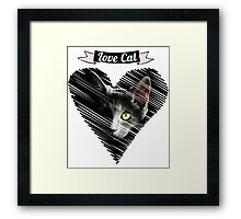 love black cat kitty katze baby herz Framed Print