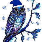 Christmas Blues - Owl by Linda Callaghan