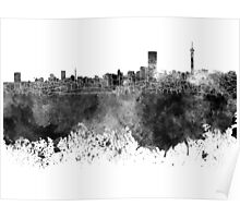 Johannesburg skyline in black watercolor on white background Poster