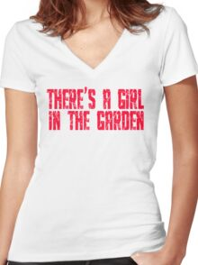 Shaun Of The Dead - There's A Girl In The Garden Women's Fitted V-Neck T-Shirt