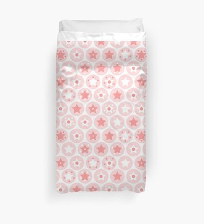 Geometric pink girls kids circles and stars seamless pattern on white background Duvet Cover