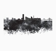 Yokohama skyline in black watercolor on white background Kids Tee