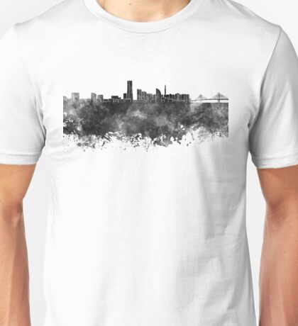 Yokohama skyline in black watercolor on white background Unisex T-Shirt