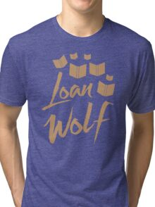 loan wolf (librarian with books) Tri-blend T-Shirt