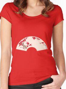 Plum Blossom In Fan Women's Fitted Scoop T-Shirt
