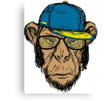 Fashion Portrait of Monkey Hipster Canvas Print