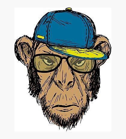 Fashion Portrait of Monkey Hipster Photographic Print