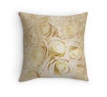 Painted White Roses Throw Pillow