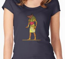 Ancient Egyptian Painting - Anubis, the Wolf God Women's Fitted Scoop T-Shirt