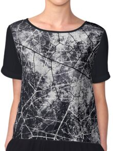 Black and White Crackle Grunge Texture Chiffon Top