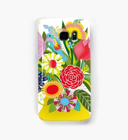 Vase with lots of flowers and a hidden bird Samsung Galaxy Case/Skin